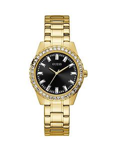guess-guess-sparkler-black-dial-gold-tone-ladies-dress-watch