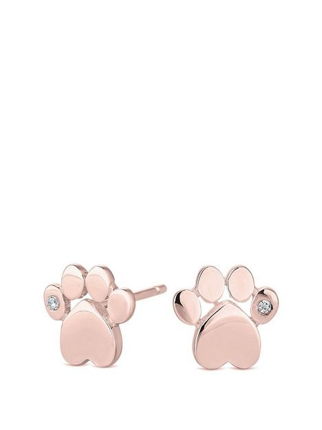 simply-silver-simply-silver-sterling-silver-925-14ct-rose-gold-cubic-zirconia-paw-print-stud-earring