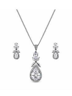 jon-richard-rhodium-cz-floral-pendant-and-earring-set