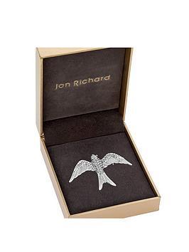 jon-richard-silver-plate-pave-swallow-brooch