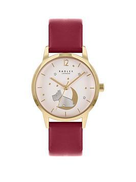 radley-dog-moon-dial-red-strap-watch