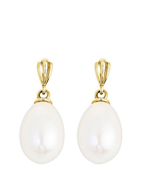 love-pearl-love-pearl-9ct-yellow-gold-97mm-oval-drop-freshwater-pearl-stud-earrings