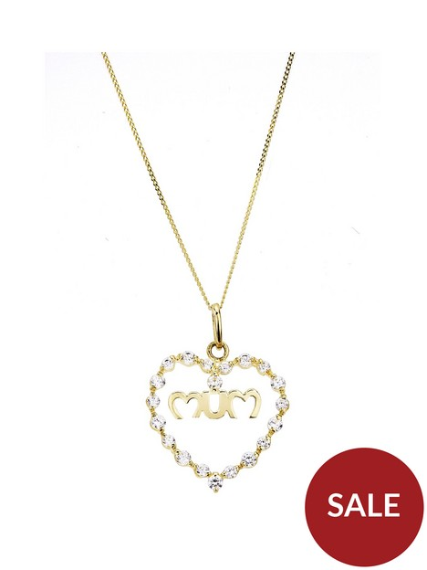 love-gold-love-gold-9ct-yellow-gold-white-cubic-zirconia-mum-heart-pendant-on-18-inch-curb-chain