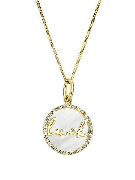 the-love-silver-collection-yellow-gold-plated-silver-mother-of-pearl-and-cz-luck-pendant-necklacenbsp