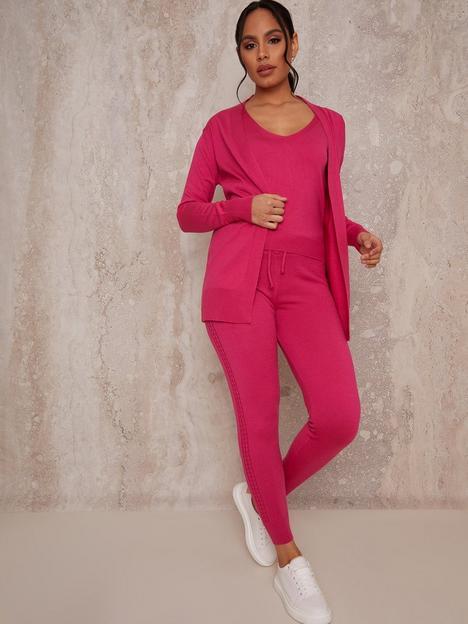 chi-chi-london-3-piece-cardigan-lounge-wear-set-hot-pink