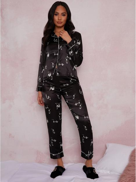 chi-chi-london-long-sleeve-graphic-print-pyjamas--nbspblack