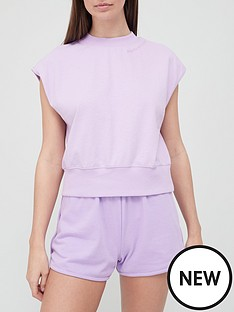 hunkemoller-cotton-cropped-pyjama-t-shirt-lavender