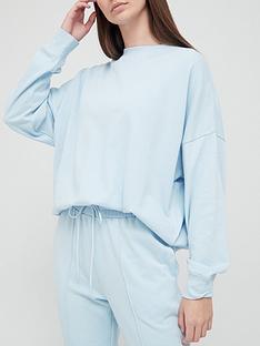 hunkemoller-cotton-long-sleeve-pyjamanbsptop-blue