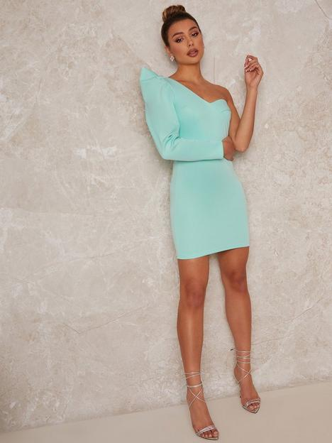 chi-chi-london-one-shoulder-mini-dress-green