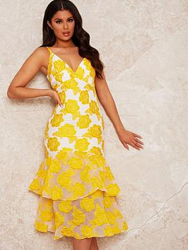 chi-chi-london-peplum-jacquard-bodycon-dress-yellow