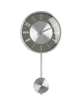 Product photograph showing Premier Housewares Pendulum Metal Wall Clock