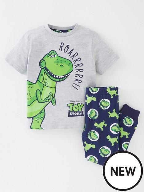toy-story-boys-toy-story-rex-short-sleeve-pyjamas-greynbsp
