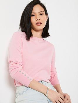 mint-velvet-crew-neck-button-jumper-pink