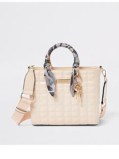 river-island-patent-quilted-tote-pink