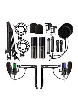 strmd-usb-podcast-super-kit-two-usb-cardioid-microphones-shock-mounts-scissor-stands-amp-pop-filters