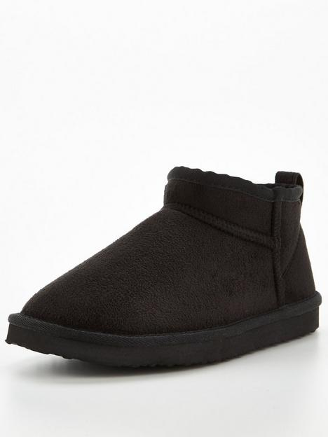 v-by-very-short-faux-suede-slipper-boot-black