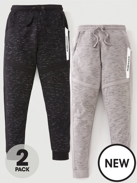 v-by-very-boys-2-pack-injected-yarn-panel-joggers-blackgrey