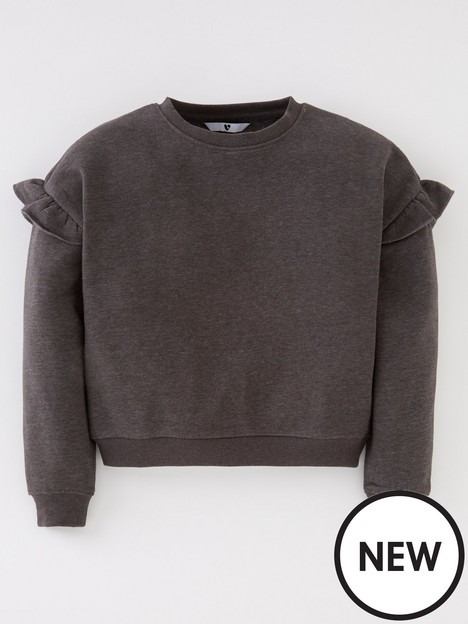 v-by-very-girls-essential-frill-shoulder-sweat-charcoalnbsp