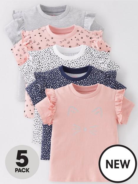 mini-v-by-very-girls-5-packnbspcat-print-short-sleeve-t-shirt-multi