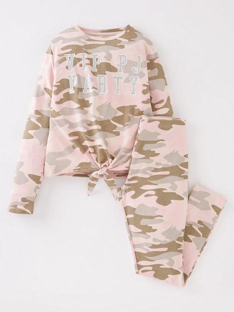 v-by-very-girls-single-camo-print-tie-long-sleeve-front-pj-set-multi