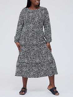 v-by-very-curve-long-sleeve-tiered-midi-dress-monochrome-animal-print