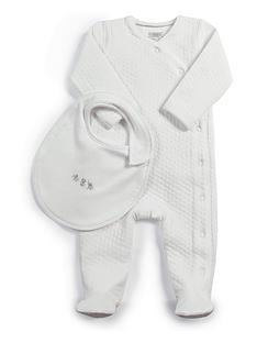 mamas-papas-unisex-baby-textured-all-in-one-with-bib-white