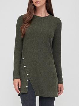 v-by-very-button-split-detail-tunic-top-khaki