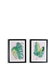 arthouse-set-of-2-abstract-leaves-framed-prints