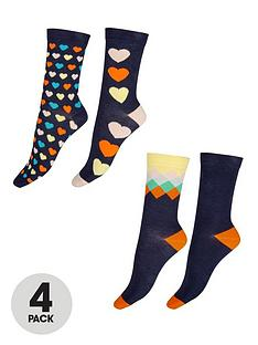 pretty-polly-4-pack-diamond-and-heart-bamboo-socks-navy-mix
