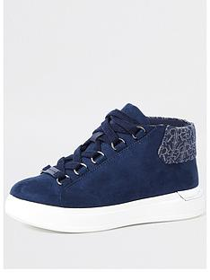 river-island-boys-suedette-high-top-trainer-navy