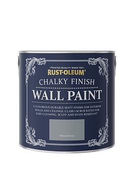 Product photograph showing Rust-oleum Rust-oleum Chalky Wall Paint Mineral Grey 2 5l