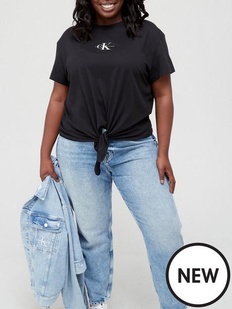 calvin-klein-jeans-plusnbspknotted-t-shirt-black