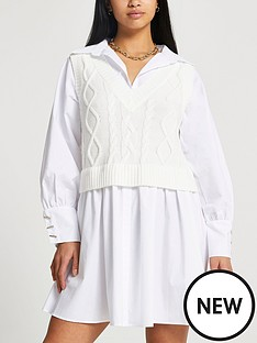 ri-petite-cable-knit-shirt-mini-dress-cream