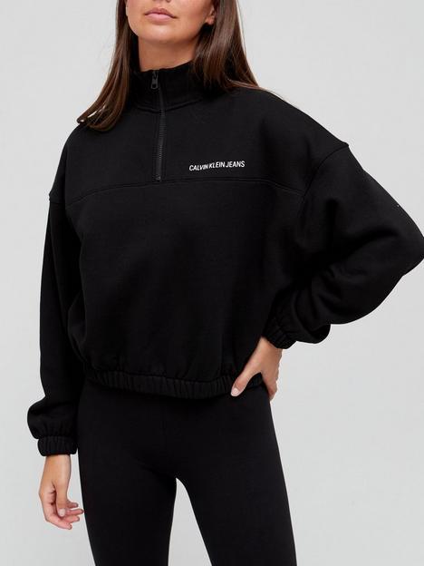 calvin-klein-jeans-organic-cotton-vertical-institutional-half-zip-top-black