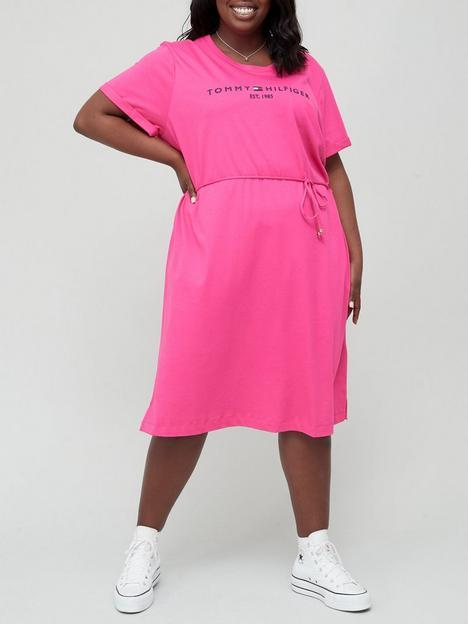 tommy-hilfiger-curve-100-organic-cotton-logo-midi-dress-pink