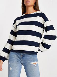 river-island-wide-stripe-jumper-navy