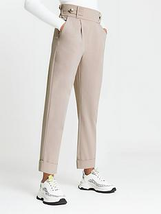 river-island-button-tab-pleated-peg-trouser-light-beige