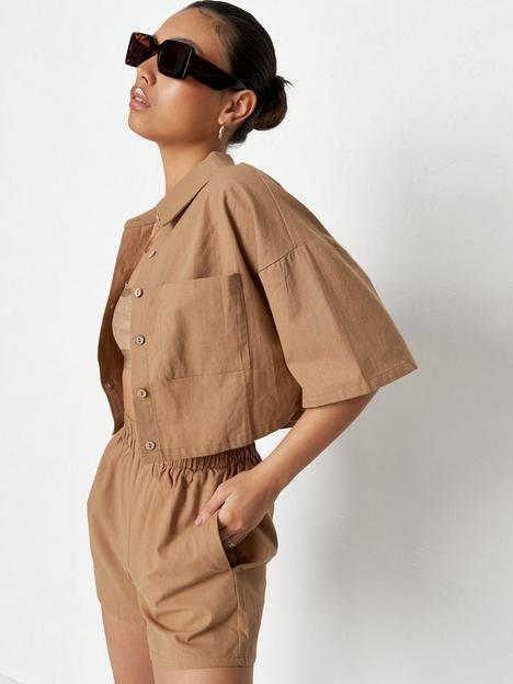 missguided-missguied-linen-look-shirt-co-ord