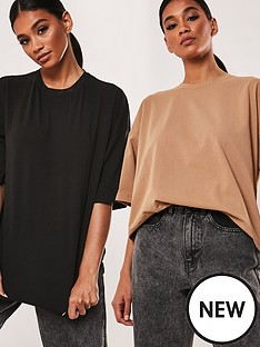 missguided-missguided-2-pack-drop-shoulder-oversized-t-shirt-black
