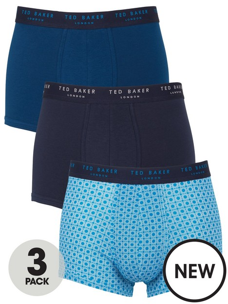 ted-baker-3-pack-geo-print-and-solid-trunks-blue