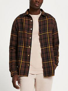 river-island-brown-check-long-sleeve-shirt