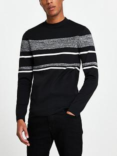 river-island-black-colour-block-slim-fit-jumper