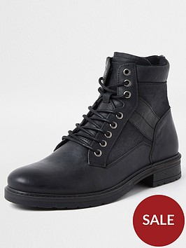 river-island-buckley-distressed-mixed-material-boot-black