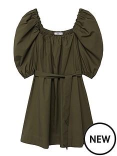 mango-short-sleeve-cotton-poplin-mini-dress-khaki