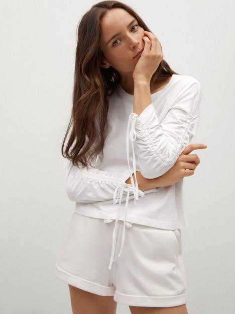 mango-long-ruched-sleeve-t-shirt-white
