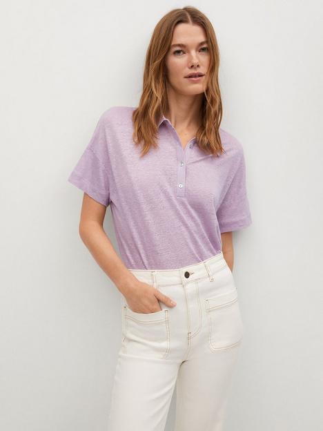 mango-linennbsppolo-t-shirt-light-purple