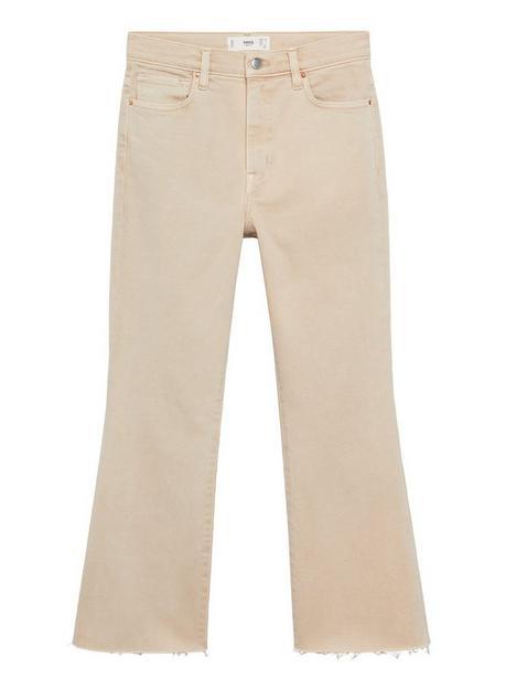 mango-cropped-high-waist-boot-cut-jean-beige