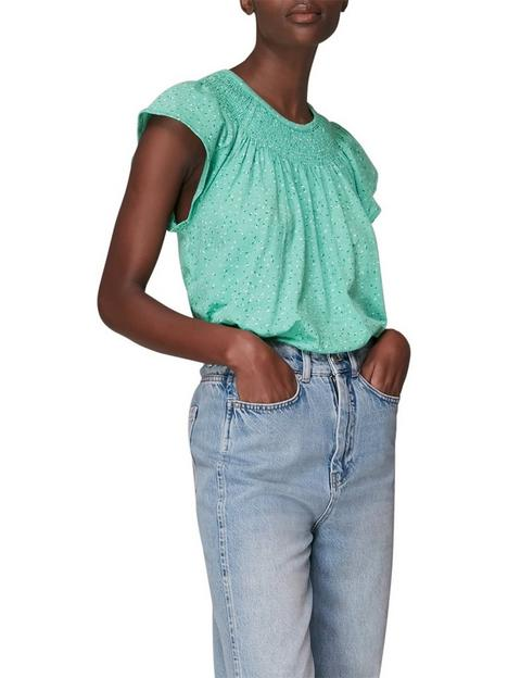 whistles-printed-rouched-top