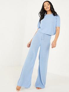 quiz-short-sleeve-wide-leg-lounge-suit-blue