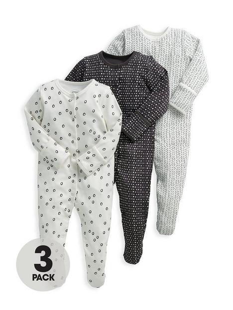 mamas-papas-baby-unisex-3-pack-mono-sleepsuits-multi